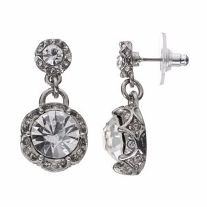 JUICY COUTURE Silver Crystal Drop Party Earrings